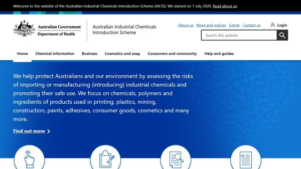 Australian Industrial Chemicals Introduction Scheme homepage screenshot