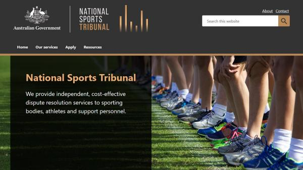 National Sport Tribunal homepage screenshot