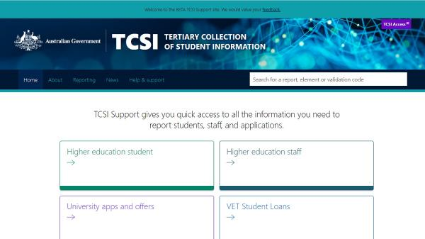 Tertiary Collection of Student Information homepage screenshot