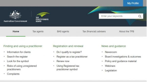 Tax Practitioners Board homepage screenshot