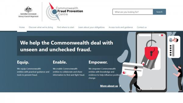 Commonwealth Fraud Prevention Centre homepage screenshot