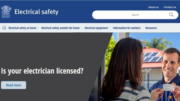 Electrical Safety Queensland homepage screenshot