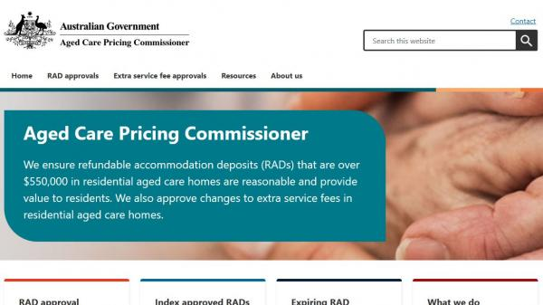 Aged Care Pricing Commissioner homepage screenshot