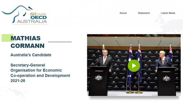 Mathias Cormann OECD homepage screenshot