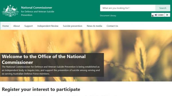 National Commissioner for Defence and Veteran Suicide Prevention homepage screenshot