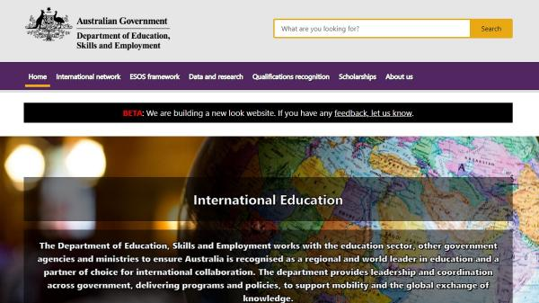 International Education Beta homepage screenshot