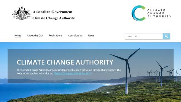 Climate Change Authority homepage screenshot
