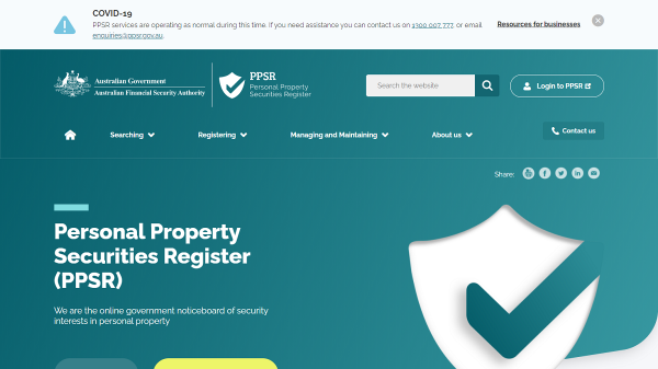 PPSR Homepage Screenshot